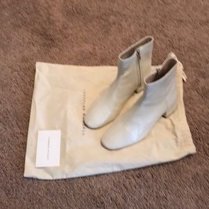 Loeffler Randall white patent leather boots